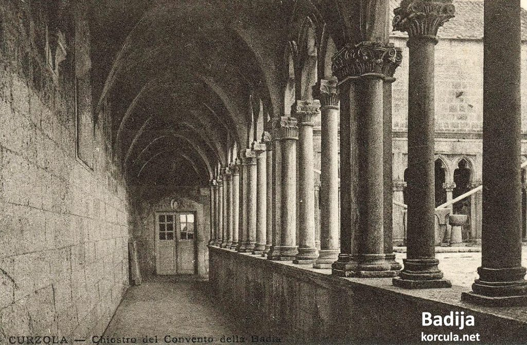 A very old photo of Badija Franciscan Monastery's Cloister