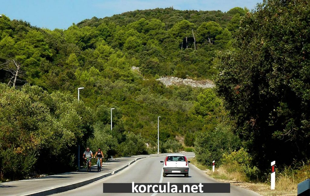 Dedicated bike path Korcula-Lumbarda