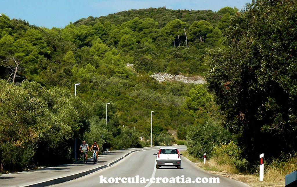bike path from Korcula to Lumbarda