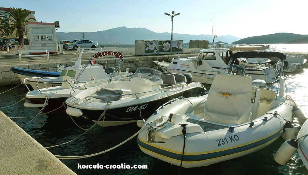 Speedboats available for rent in Korcula Town's marina