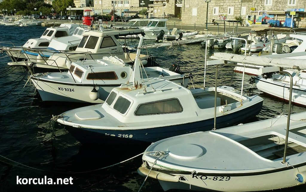 Selection of small plastic boat mooring in the local harbour. Similar models are available for rent in most of the rental agencies.