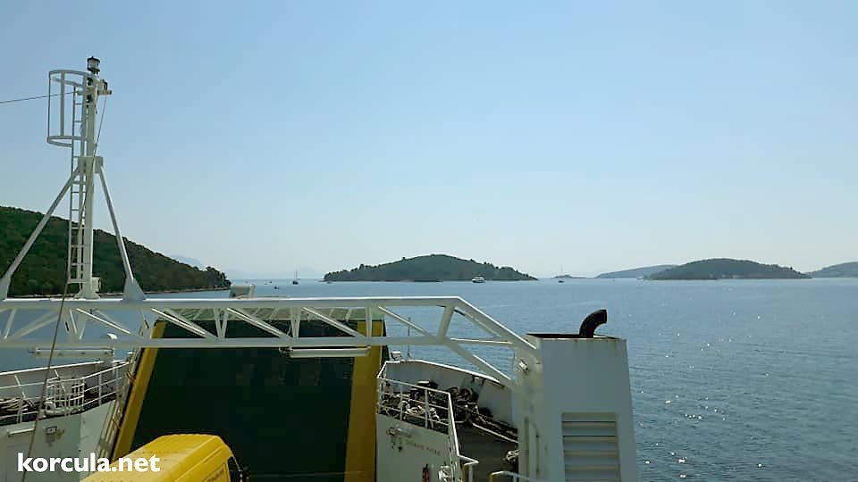 Car Ferry Korcula Domince to Orebic views over Archipelago