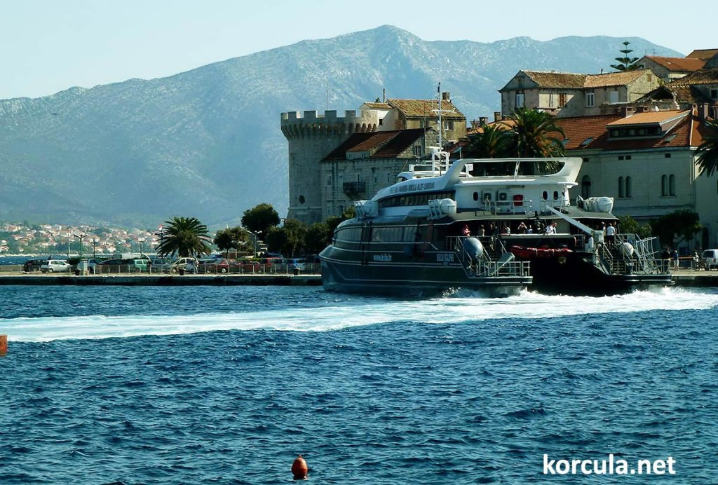Catamaran ferry arrival in Korcula from Split