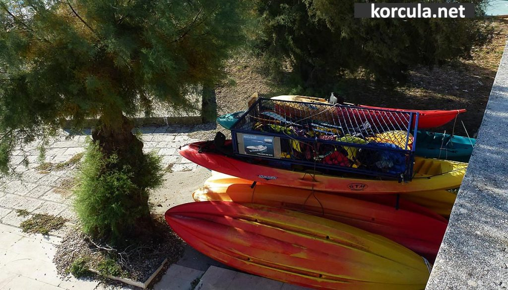 kayaks hidden in the shady corner of the local beach