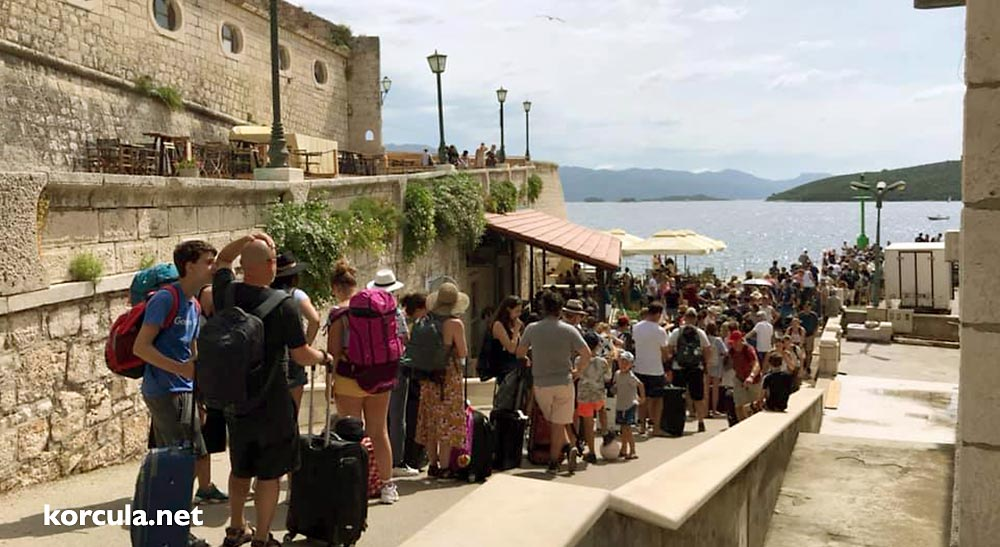 Waiting line in Korcula Town ferry port in a busy period