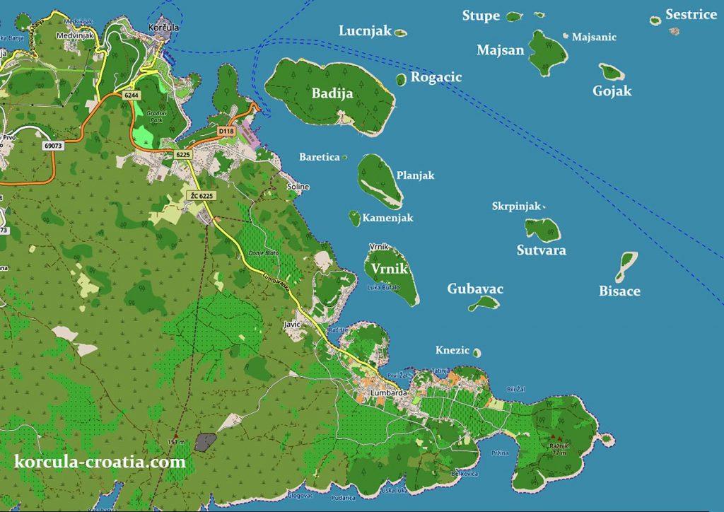 Map Korcula Archipelago Skoji