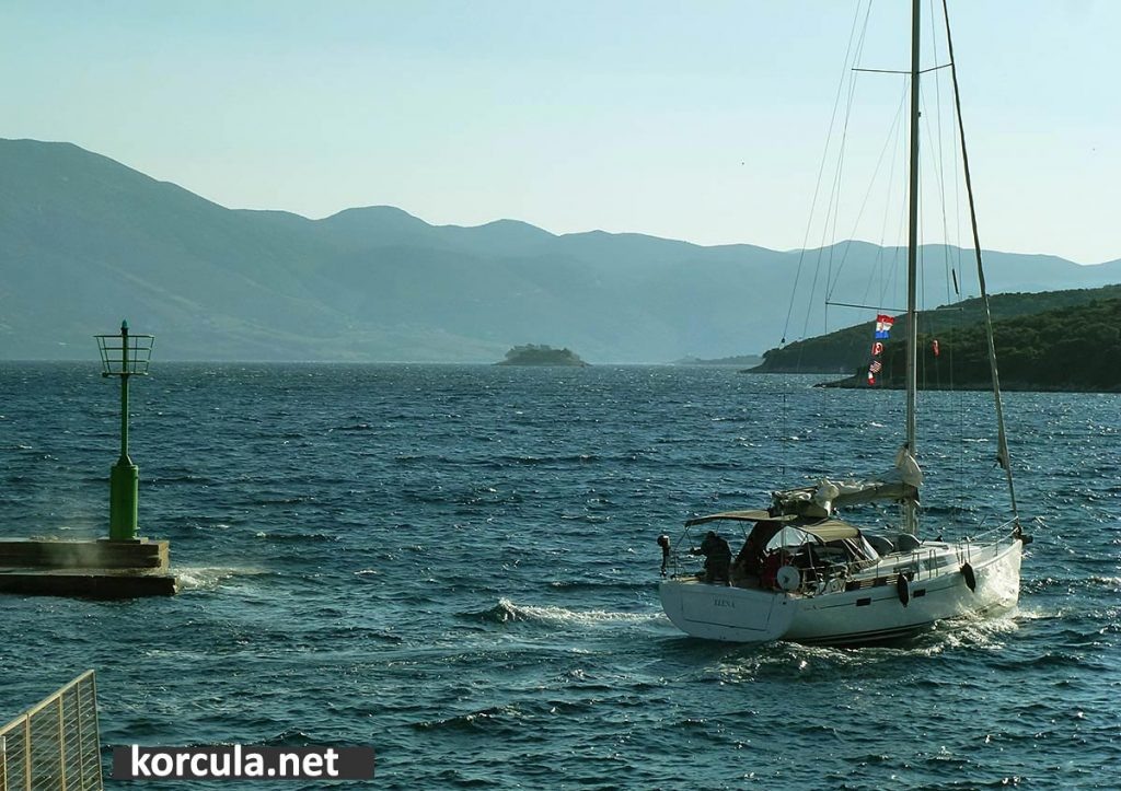 moderate Bura wind in Korcula Town in late September