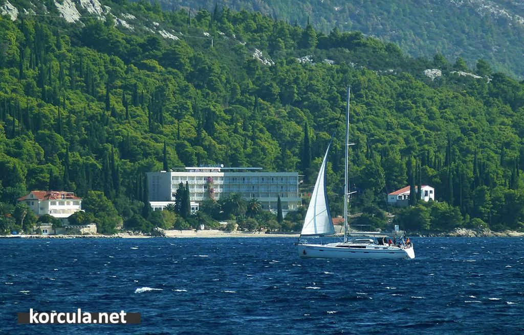 Sailing boat in Korcula channel