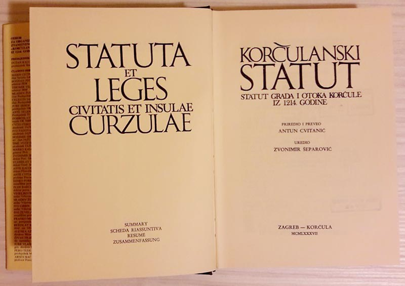 The Statute of the town and island of Korčula reprint