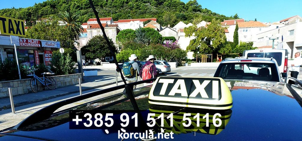 Cabs waiting on taxi station in Korcula town