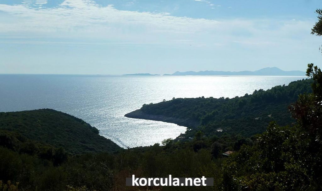 Views from the path over Rasohatica bay, Lastovo channel and Lastovo island in the background